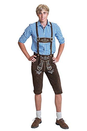 Herren Trachten Lederhose Kniebundhose mit Trägern in verschiedenen Farben, Trachtenlederhose in Größe 46 bis 60 (52 (BW 91 - 98 cm), Braun) thumbnail