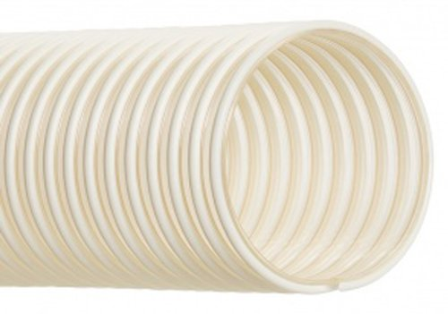 """Hi-Tech Duravent Thermoplastic Polyurethane Static Dissipative Duct Hose, Clear W/ Opaque Helix, 2"""" Id, 2.5000"""" Od, 25' Length front-624987"""