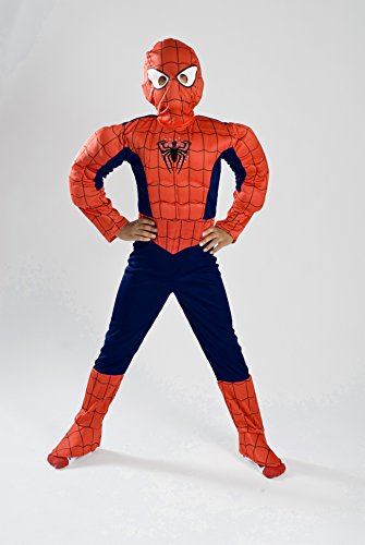 Amazing Spiderman Costume With Muscle Light Up For Boys Girls Kids With Gloves front-854399