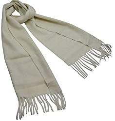 100% Cashmere Scarf From Inner Mongolia in White - hcs-003