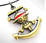 One Piece Skull Logo Anchor Logo Necklace