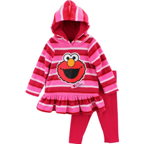 "Sesame Street ""Elmo"" Pink Toddler Hooded Fleece Top & Leggings Set (4T)"