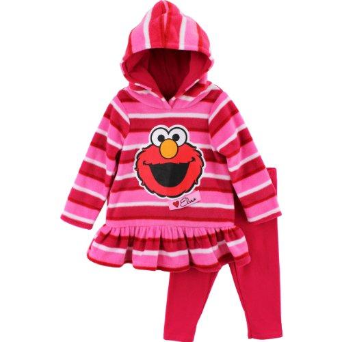 """Sesame Street """"Elmo"""" Pink Toddler Hooded Fleece Top & Leggings Set (4T) front-1059777"""