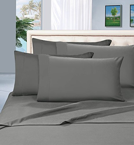 Elegant Comfort 1500 Thread Count Wrinkle & Fade Resistant Egyptian Quality Ultra Soft Luxurious 4-Piece Bed Sheet Set, Queen, Gray (Egyptian Cotton Sheet Set compare prices)