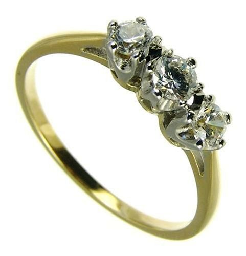 Ladies' Diamond Trilogy Ring, 9 Carat Yellow Gold set with Three Stones, 1/2 Carat Total Diamond Weight