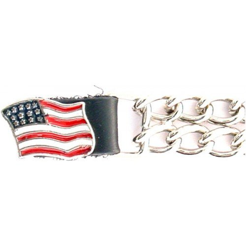 Bikers Shield 'US Flag' Design Vest Extender with Double Chrome Chain