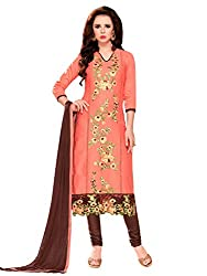Kanchnar Women's Peach and Brown Glace Cotton Embroidered Party Wear Dress Material for Traditional Wedding Wear,Navratri Special Dress,Great Indian Sale,Diwali Gift to Wife,Mom,Sister,Friend