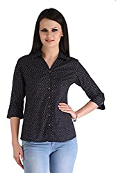 ZAIRE Women's Fashionable Printed 3/4 Sleeves Cotton Top (2105-3/4TH, Navy Blue,XL)
