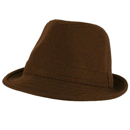 Men's Winter Classic Wool Solid Fedora Trilby Gangster Mob Cap Hat Brown L/XL (Fedora Hats Extra Large compare prices)