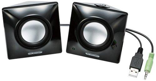 ELECOM Bevel shaped USB speaker 2W 2ch Black MS-P03UBK