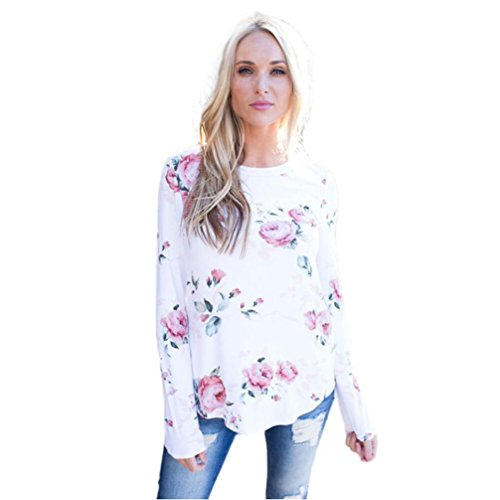 WILLTOO Womens Long Sleeve Blouse Flower Printing Tops T Shirt (S) (Blouse Thermal compare prices)