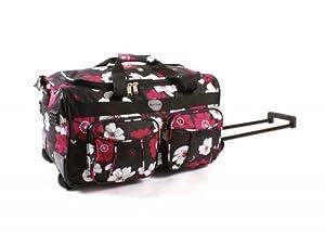 Womens Girls Floral Flowers Hand Luggage Wheeled Travel Bag Blackgreypinkpurple 18 20 26 30 20 Black