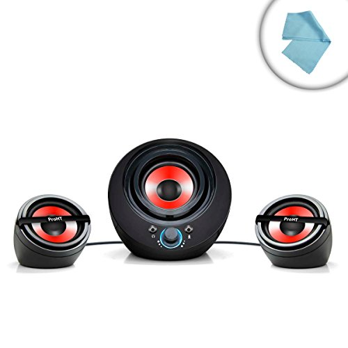 Compact Pro-Audio 2.1 Channel Gaming Speaker System With Powered Subwoofer - Great Sound For Titanfall , Dota 2 , League Of Legends , Final Fantasy Xiv: A Realm Reborn , Elder Scrolls Online And So Many More Games! *Includes Bonus Microfiber Cleaning Clot