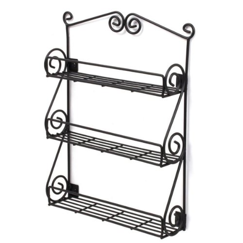Spectrum Wall-Mountable Black Scroll Spice Rack