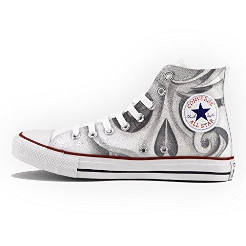 Converse Personalizzate All Star Alta - scarpe artigianali - Drawn Skull