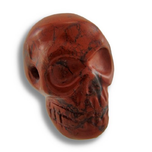 Brecciated Jasper Carved Gemstone Skull Pendant