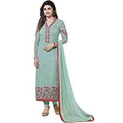 Latest Wize Sea-Green Straight Cut Georgette Party Dress Material with Chiffon Dupatta