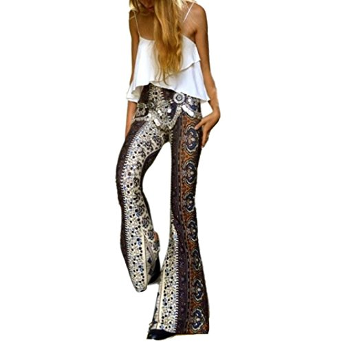 Elevin(TM) Womens Ankle Length Printed Stretch Flare Bell-bottoms Pants Trousers (S, Multicolor 1)