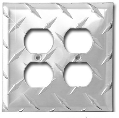 Diamond Life MC2OL.D Formula 1Wall Plate XL Double Outlet 5 H x 5 W Diamond Plate