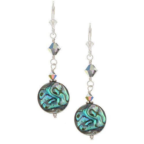 Charming Life Sterling Silver Paua Shell Round Earrings
