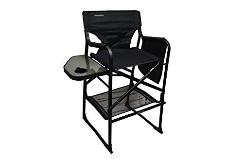 Extra Tall Folding Directors Chair Foldable Chair With Side Table And Cup Holder Xl Design (Black) front-48017