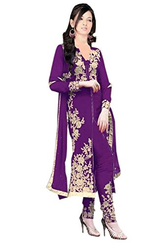 Sanjana Design Women\'s fashino Georgette dress material ( KS4009_Free Size_Purple)