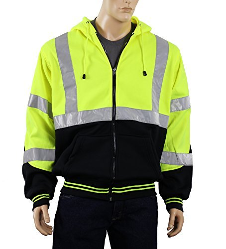 Safety Depot Class 3 Heavy Duty Refletive Two Tone Hooded Soft Sweatshirt with Handwarmer pockets and Zipper Closure SS25 (Medium, Lime) by Safety Depot