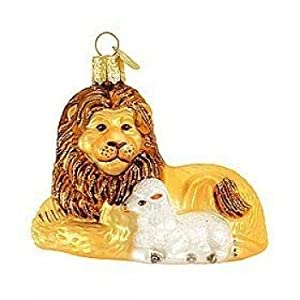 #!Cheap Old World Christmas Lion and Lamb Ornament