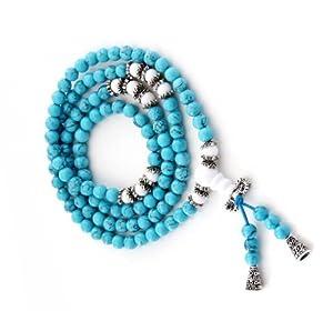 6mm 108 Howlite Turquoise Beads Buddhist Prayer Rosary Mala Necklace