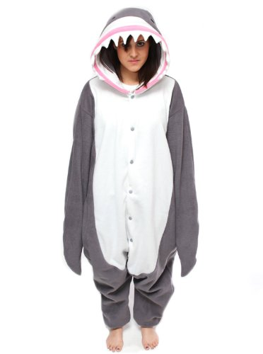 Bcozy Shark Onesie, Gray/White/Pink, One Size front-872663