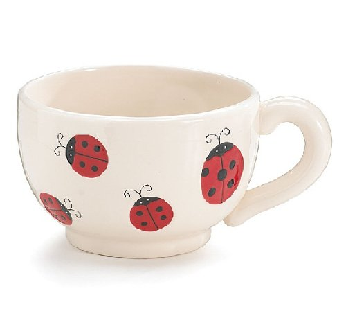 Ladybug Teacup Planter Indoor/Outdoor Decor