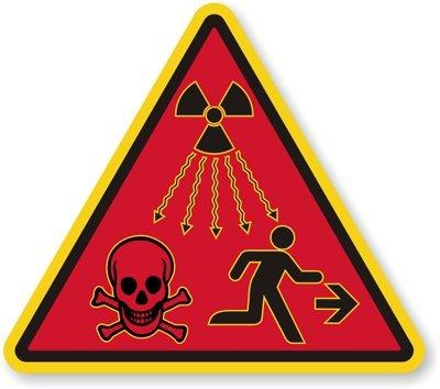 "Radiation Warning Symbol, Engineer Grade Reflective Aluminum Sign, 80 Mil, 30"" X 30"""