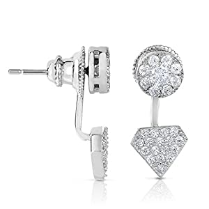 SPOIL CUPID 925 Sterling Silver Earrings - Cubic Zirconia Diamond Design Front and Back Drop Studs