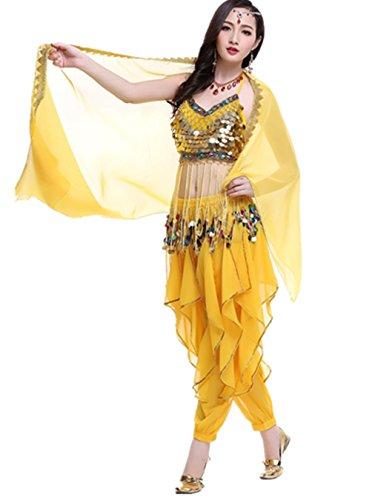 Dancewear Danza del ventre Custome Tribal Sling Monete Top & Chiffon Rotate Pantaloni yellow