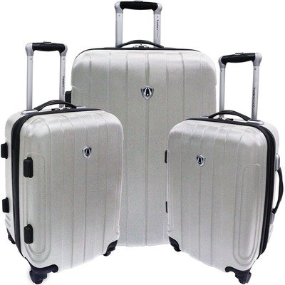Travelers Choice Luggage Cambridge Three Piece Hardshell Spinner Set, Black, One Size top price