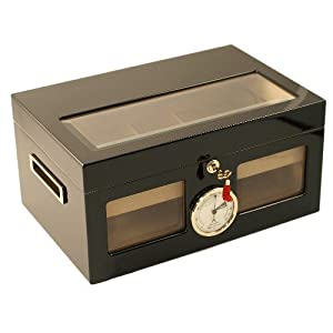 Black Beveled Glass Hi Gloss Windows 120 Cigar Humidor