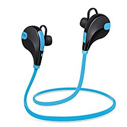 Bluetooth Headphones Xcords Sports Wireless Car Headphones Sweat-proof In-ear Stereo Earbuds Premium Sound with Bass Noise Cancelling for iPhone iPad iPod and Android Devices with Mic Blue Blue