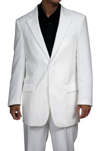 Men's 2 Button White Suit - Includes Jacket and Pants. Ideal for Miami Vice costume.
