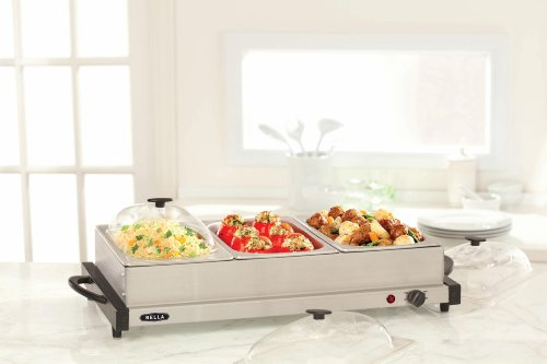 BELLA 13573 2QT Triple Buffet Server and Warmer Tray, Stainless Steel