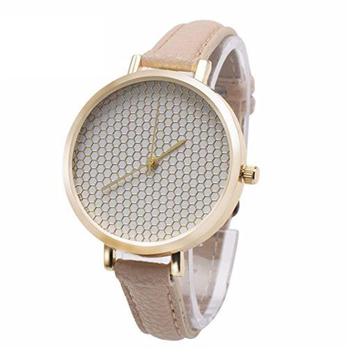 XILALU Women watch, Leather printing Analog Quartz concise Fashion Ladies table Wrist Watch (Beige) (Nail Polish Handbag compare prices)
