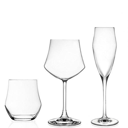 RCR Ego Set 6 Bicchieri e 12 Calici, Vetro, Trasparente, 46x22x32 cm