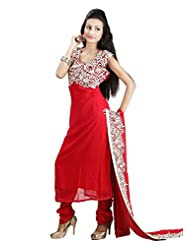 Sharmili Womens Georgette Fabric Ready-To-Wear Straight Salwar Suit With Thread Embroidery & Handwork