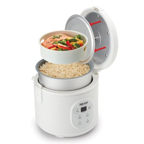White Aroma 8-Cup (Cooked) Perfect Rice Cooker & Food
