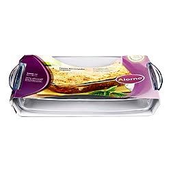 Alorno Borosilicate Glass, Easy Hands, Rectangular Roaster Baking Dish, 2.0 Ltr