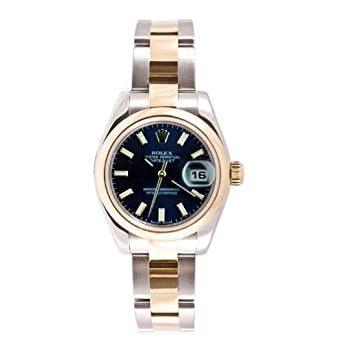 Rolex Ladys New Style Heavy Band Stainless Steel & 18K Gold Datejust Model 179163 Oyster Band Smooth Bezel Blue Stick Dial