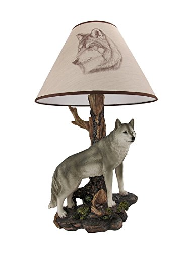 `Denizen of Twilight` Gray Wolf Table Lamp