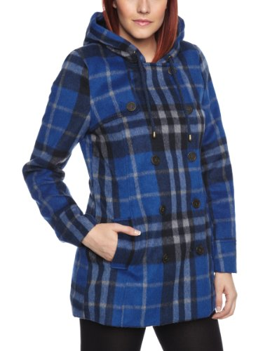 Quiksilver Cascade Plaid Peacoat Women's Jacket Indigo Blue Large