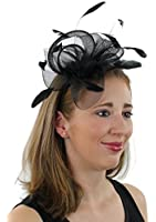 Ladies Night Fascinator Hat with Headband Flowers and Feathers Tea Party Derby Wedding Accessory