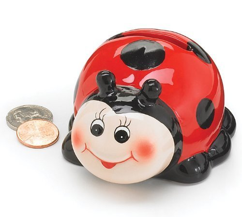 Adorable Mini Ceramic Ladybug Piggy Bank Inexpensive Keepsake - 1