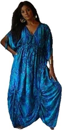 Lotustraders Dress Caftan Pockets Ruching ASYM Ties Blue One Size B239